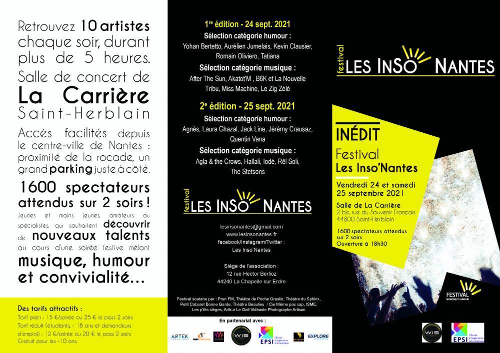 Brochure Festival Les inso' Nantes 2021 - 24 et 25 septembre