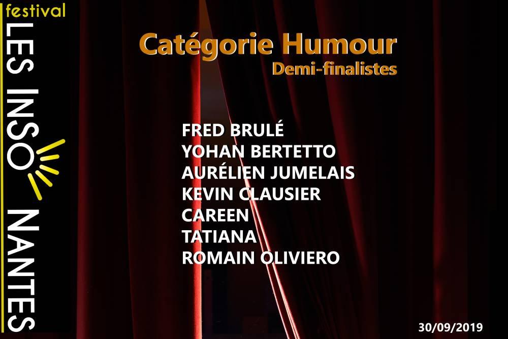 DEMI-FINALISTES CATÉGORIE HUMOUR (2019)
